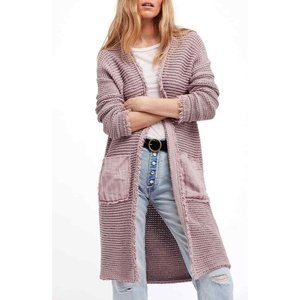 Free People Woodstock Mauve Fringe Duster Cardigan